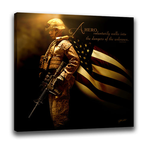 Heroes of a Nation (American Soldier) - Wrapped Canvas