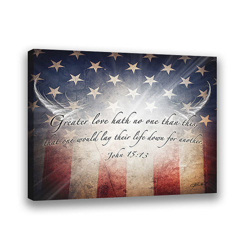 No Greater Love (American Flag) - Wrapped Canvas