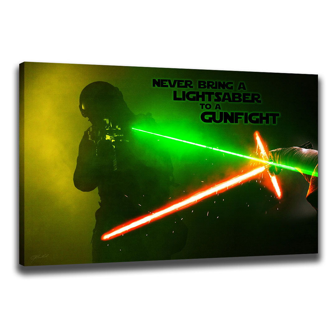Saber to a Gun Fight - Wrapped Canvas