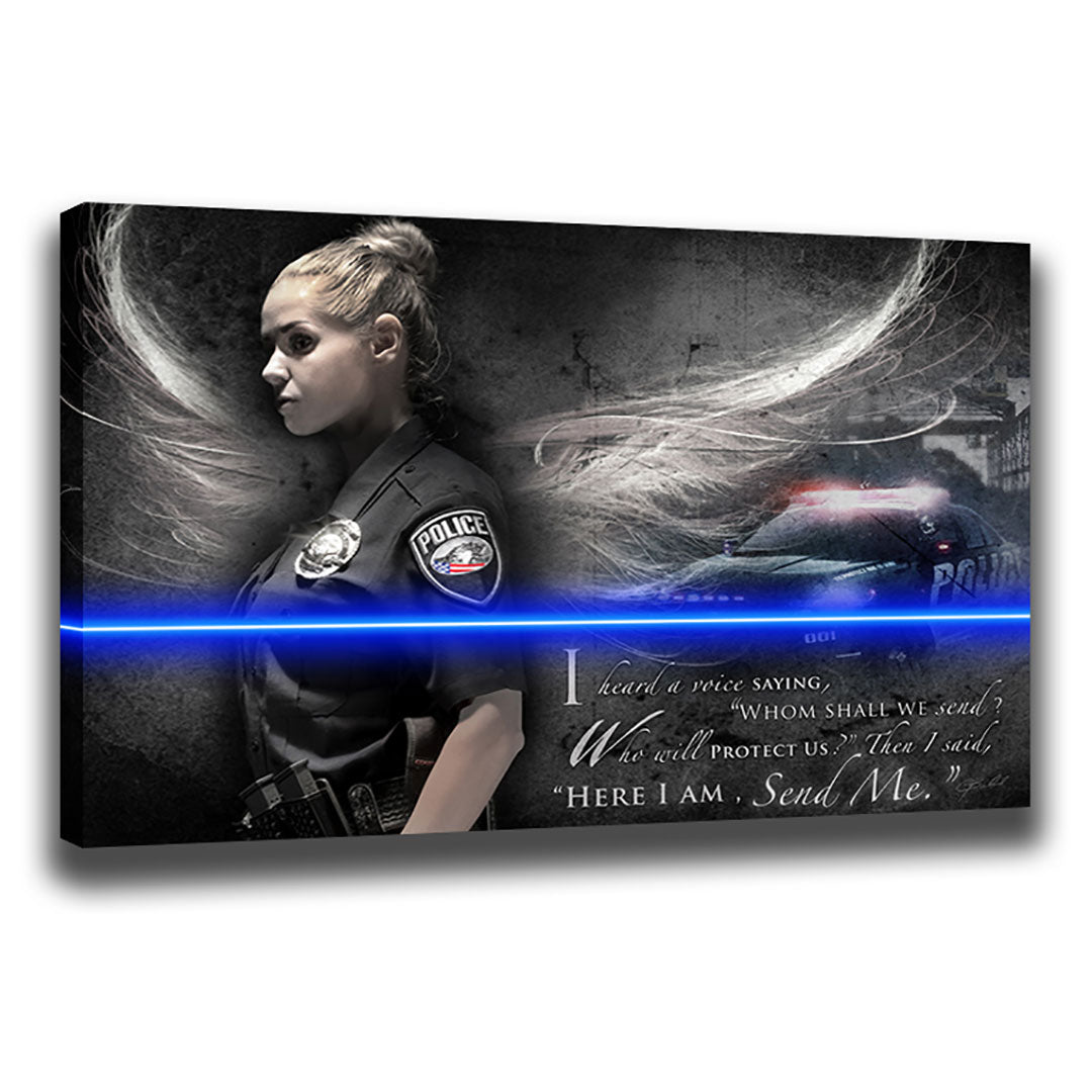 Send Me (Female Police) - Wrapped Canvas