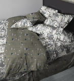 Grey art deco, burlesque inspired Duvet covers, Deco Dems on 400 thread count, 100% Egyptian cotton, sateen. Corner pop.