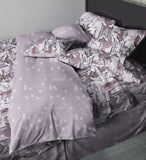 Lilac art deco, burlesque inspired duvet cover, Deco Dems on 400 thread count, 100% Egyptian cotton, sateen. Corner shot.