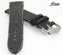 Load image into Gallery viewer, Fluco Polished Black Stingray Watch Strap - Genuine Pearl Stingray