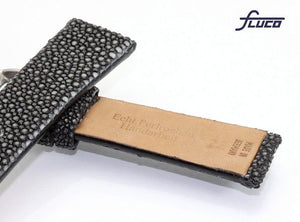 Fluco Polished Black Stingray Watch Strap - Genuine Pearl Stingray