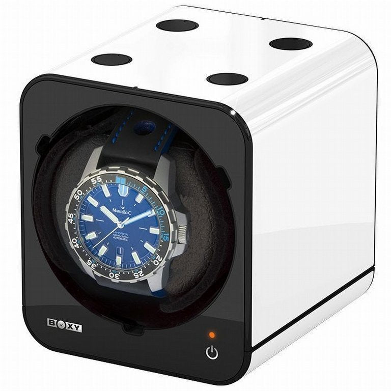 Boxy Fancy Brick Watch Winder White+adapter