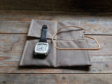 Load image into Gallery viewer, Waxed canvas 2 pocket watch pouch