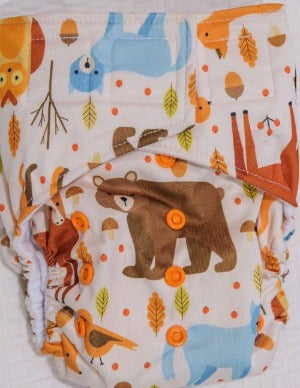 'All-in-one' (AIO) Nappy: Forest Friends
