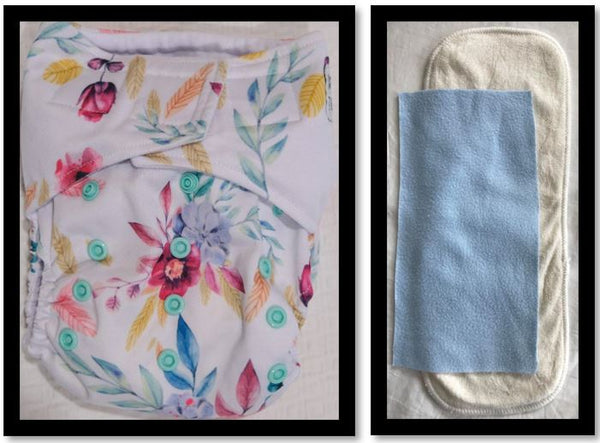 'All-in-one' (AIO) Nappy: Flowery