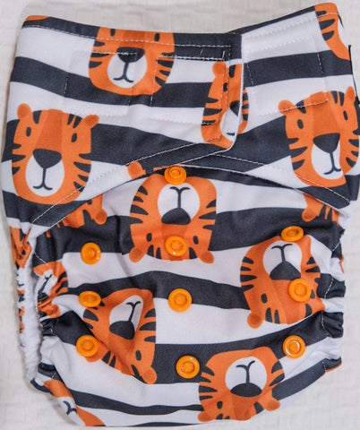'All-in-one' (AIO) Nappy: Stripey Tiger