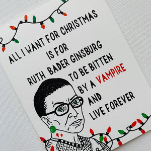 Live Forever Ruth Bader Ginsburg, Christmas Holiday Card