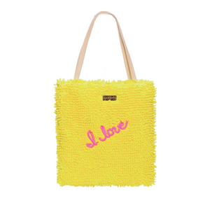 embroidered shag cotton bag