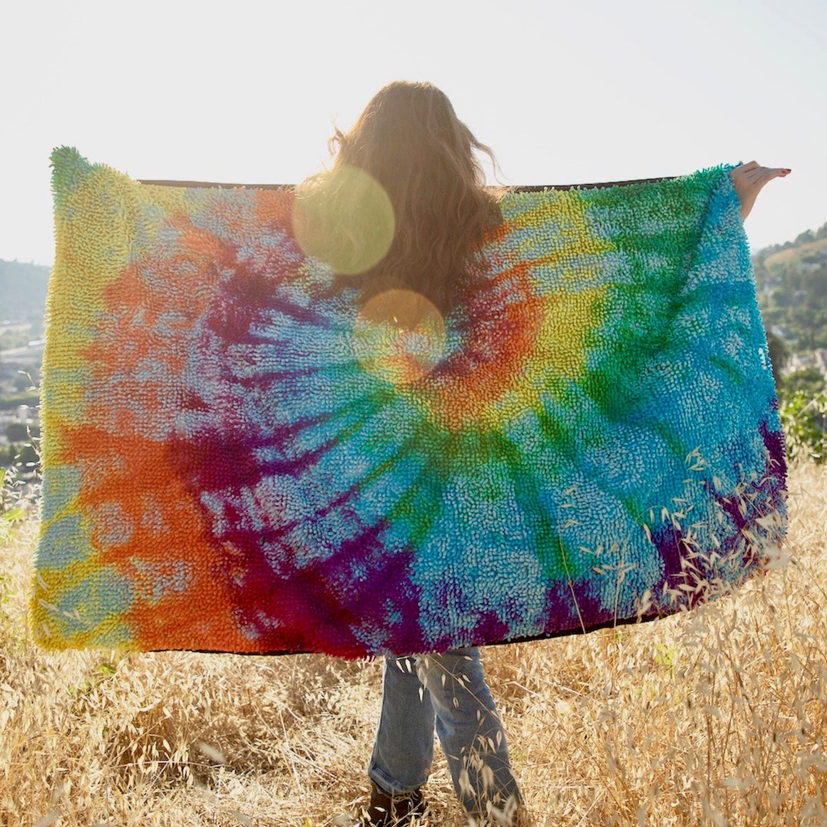 Rainbow Tie Dyed Throw Blanket