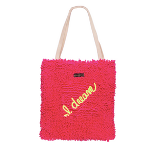 red shag cotton knit bag