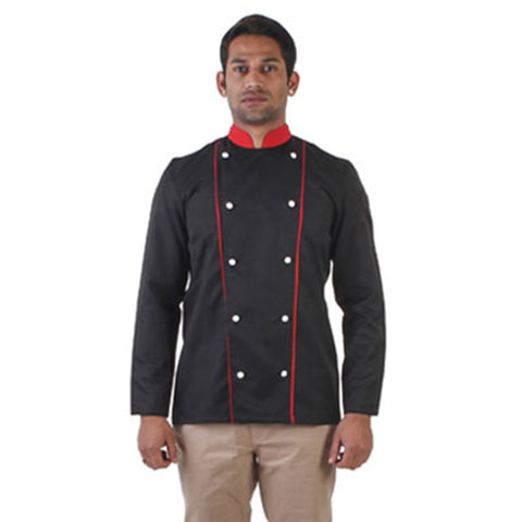 Black Chef Coat with Red Collar and Dual Red Piping, The Executive Collection