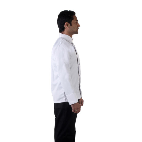 Chef Coat with Black Collar and Black Piping_FNB Fleet