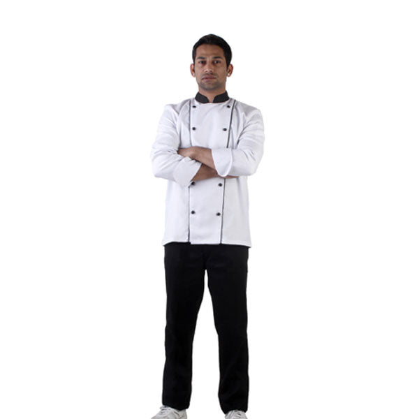 White Chef Coat with Black Collar and Dual Black Piping, The Executive Collection