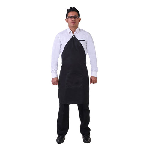 Button Tag Apron With Pocket, Black, FNBFleet