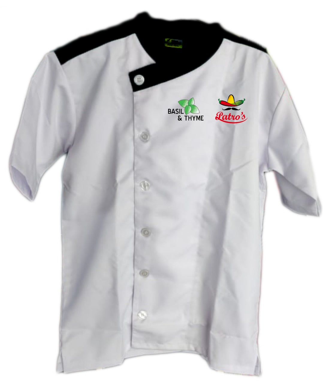 White Chef Coat Snap Front Closure , The Cross Collection
