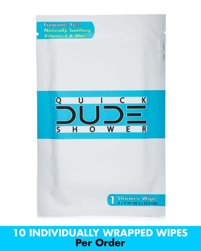 Quick Dude Shower Wipes - 10 Pack