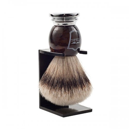 Parker Faux Horn Silvertip Badger Bristle Brush