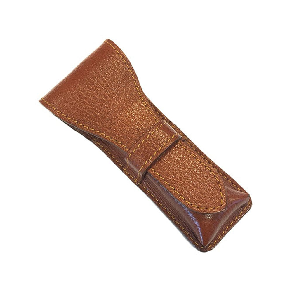 Parker Leather Pouch Brown for Safety Razors
