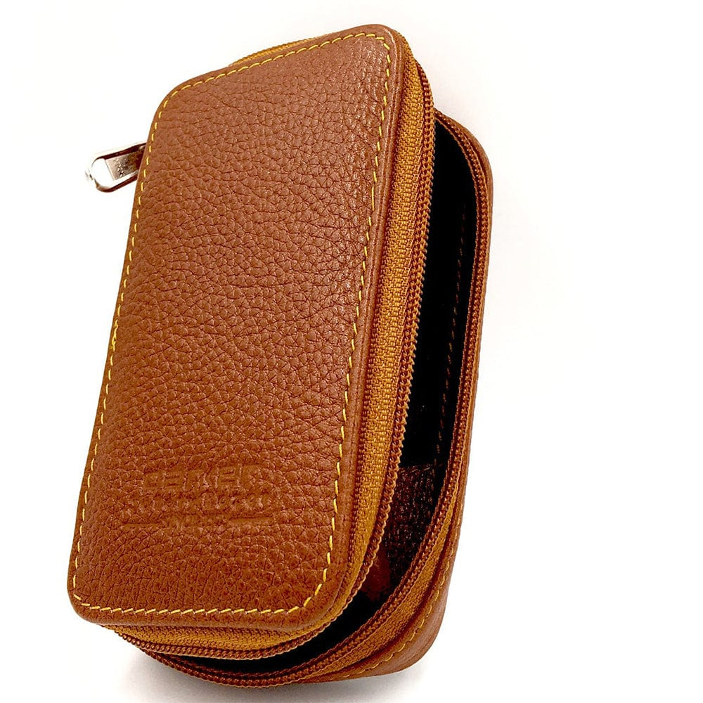 Parker Zipper Close Saddle Leather Case for Safety Razor and Blades