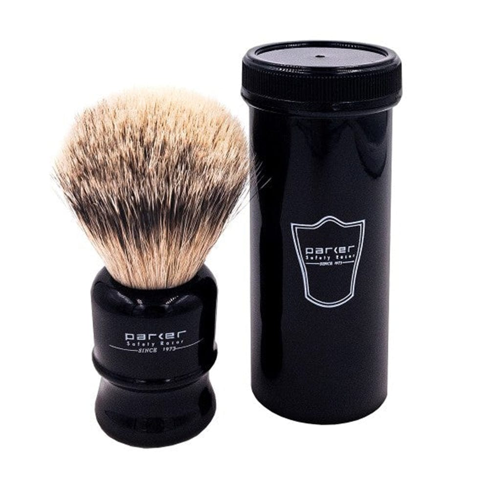 Parker Silvertip Travel Shave Brush - Black Handle