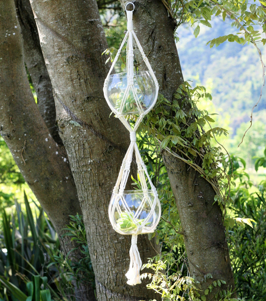 Ecobubbles ACCESSORIES Double Macrame Hanger, Natural