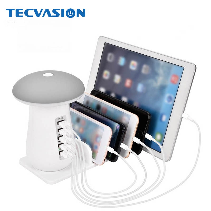 5 Ports 5V 9V 2A Quick Charge Smart USB QC3.0 Charger Gadget Station Adapter HUB Led Mushroom Desk Lamp Wall Fast Charging Power