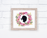 Watercolor Silhouettte Portrait - Pink or Blue