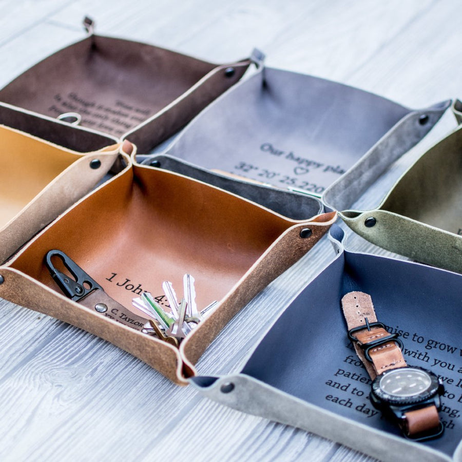 Leather valet tray, leather catchall, personalized leather