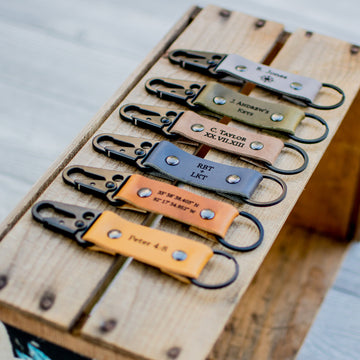 Personalized Leather Carabiner Keychain