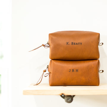 Personalized Leather Toiletry Bag - Dopp Kit