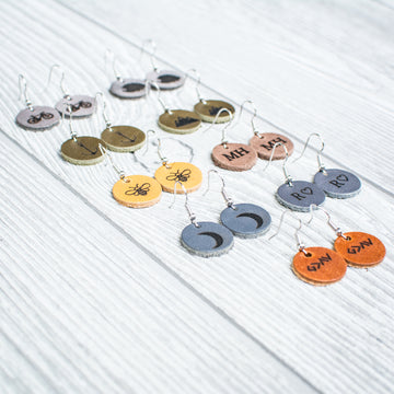 Personalized Leather Circle Earrings - Handmade