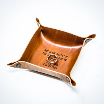 Mini - Personalized Leather Ring Tray - Catchall Tray