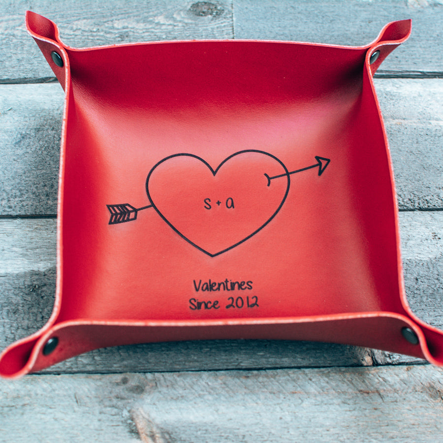 Special Edition Valentines Gift - Personalized Leather Valet tray - Catchall Tray