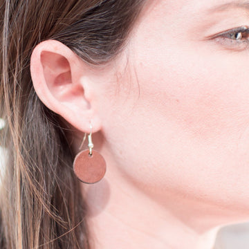 Leather Circle Earrings - Handmade