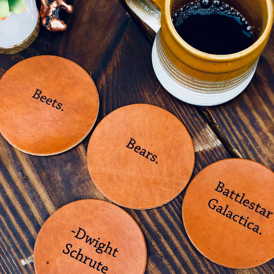 Personalized Coaster Set - Leather