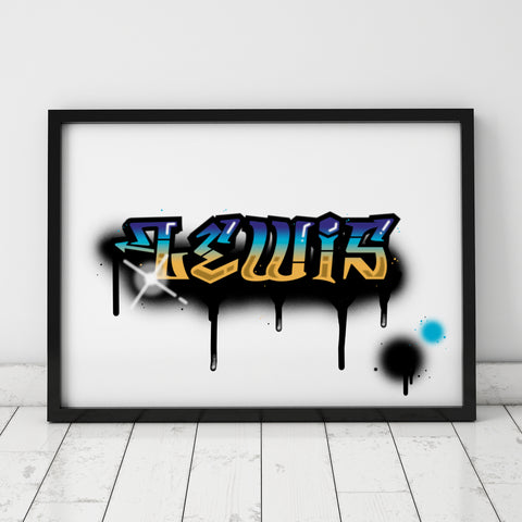 Graffiti Name Print – Lewis / SECOND