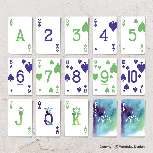 Wedding favours playing cards showing bespoke deck design