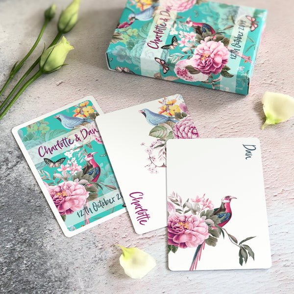 Playing card favours for a teal wedding theme