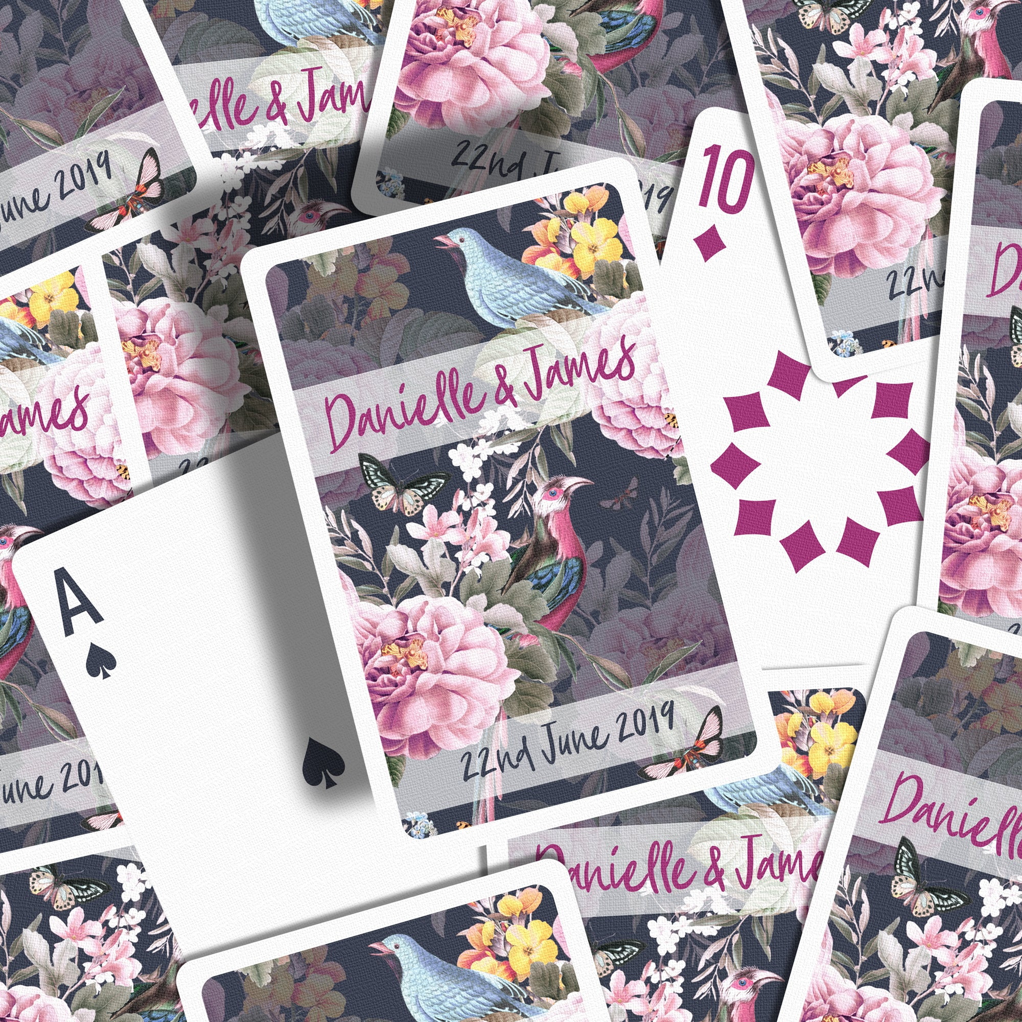 Botanical wedding favours playing cards ink