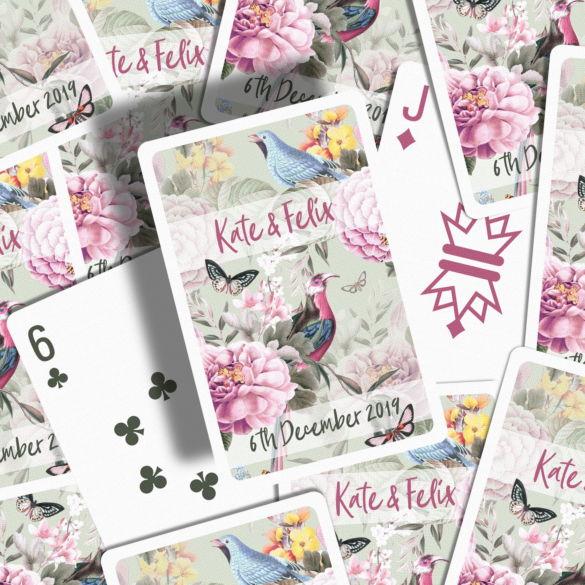 Botanical wedding favours playing cards pistachio