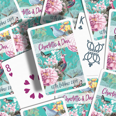 Botanical wedding favours playing cards teal