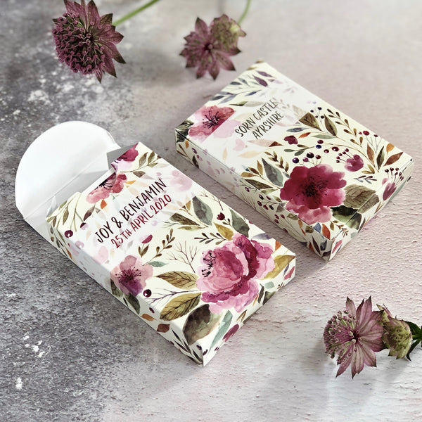 Playing card boxes for botanical theme wedding favours
