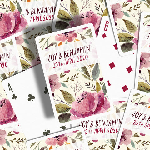 Floral wedding favours playing cards