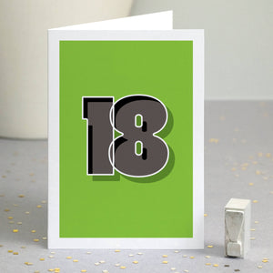 Typographic 18th Birthday Card