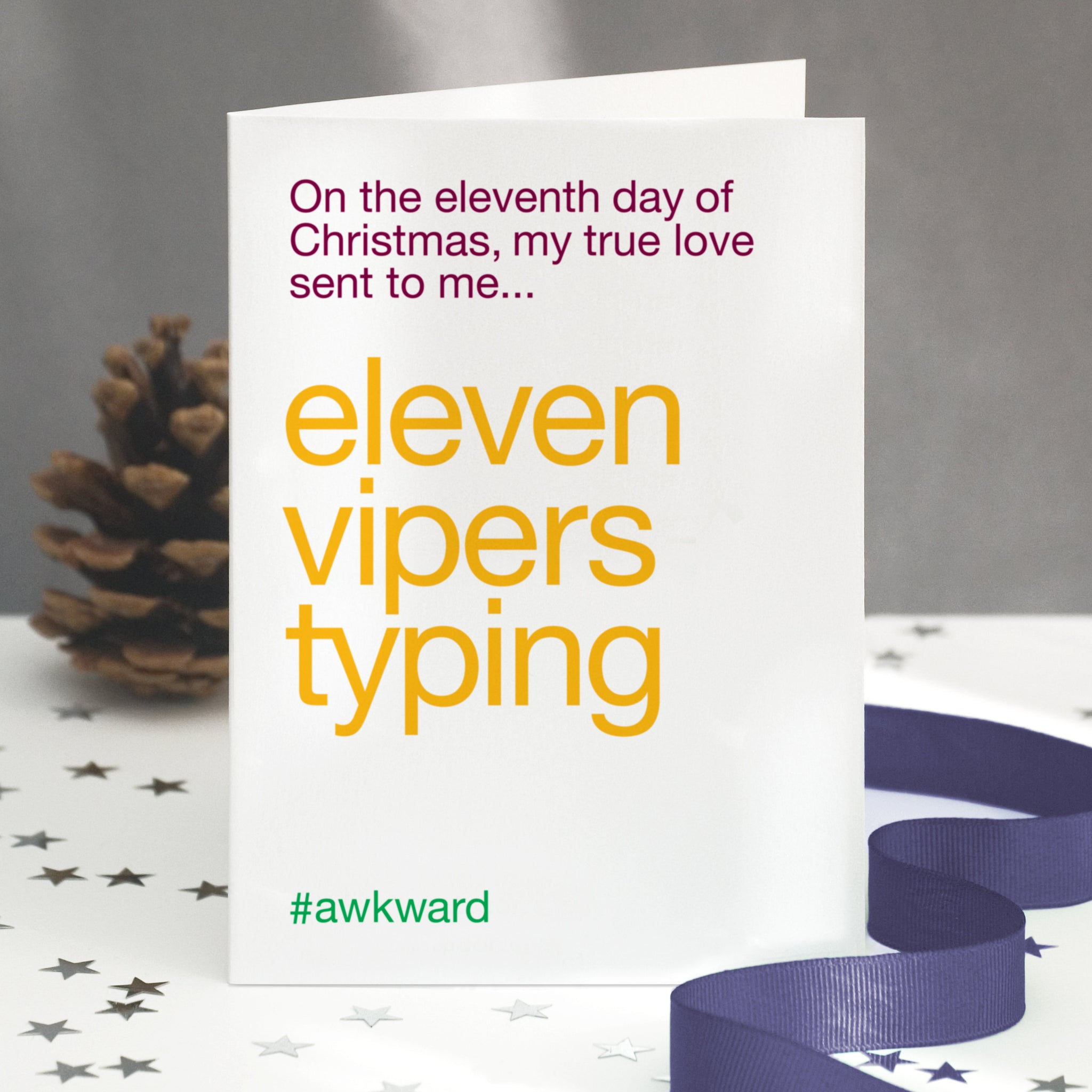 'Eleven Pipers Piping' Funny Christmas Card / SECOND