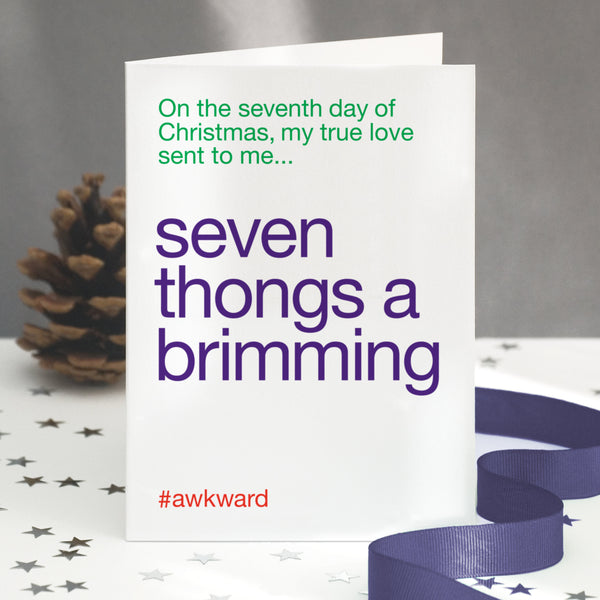 'Seven Swans A Swimming' Funny Christmas Card / SECOND