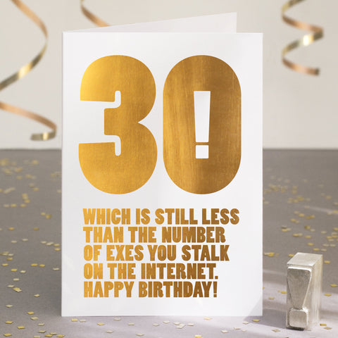 Gold Foil Funny 30th Birthday Card